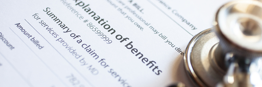 image of a an explanation of benefits for an insurance claim